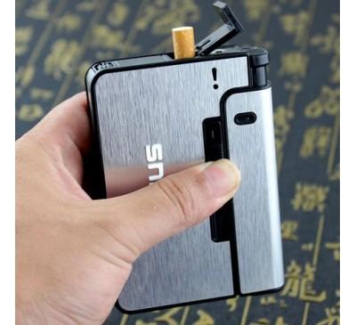 Портсигар с механизмом выдачи сигарет (металлик) +модуль для зажигалки / Focus Pioneer