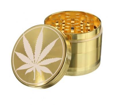 """Гриндер (мельница) для измельчения трав """"Gold Cannabis"""" (металл, 4 отсека) 1 шт."""
