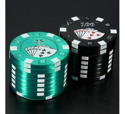 """Гриндер (мельница) для измельчения трав """"Poker"""" (металл+пластик, 3 отсека) 1 шт."""